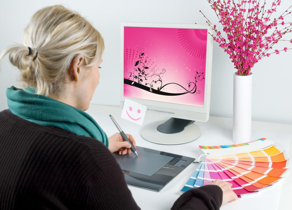 Assistant graphic designers work on ads, brochures, and other print materials.