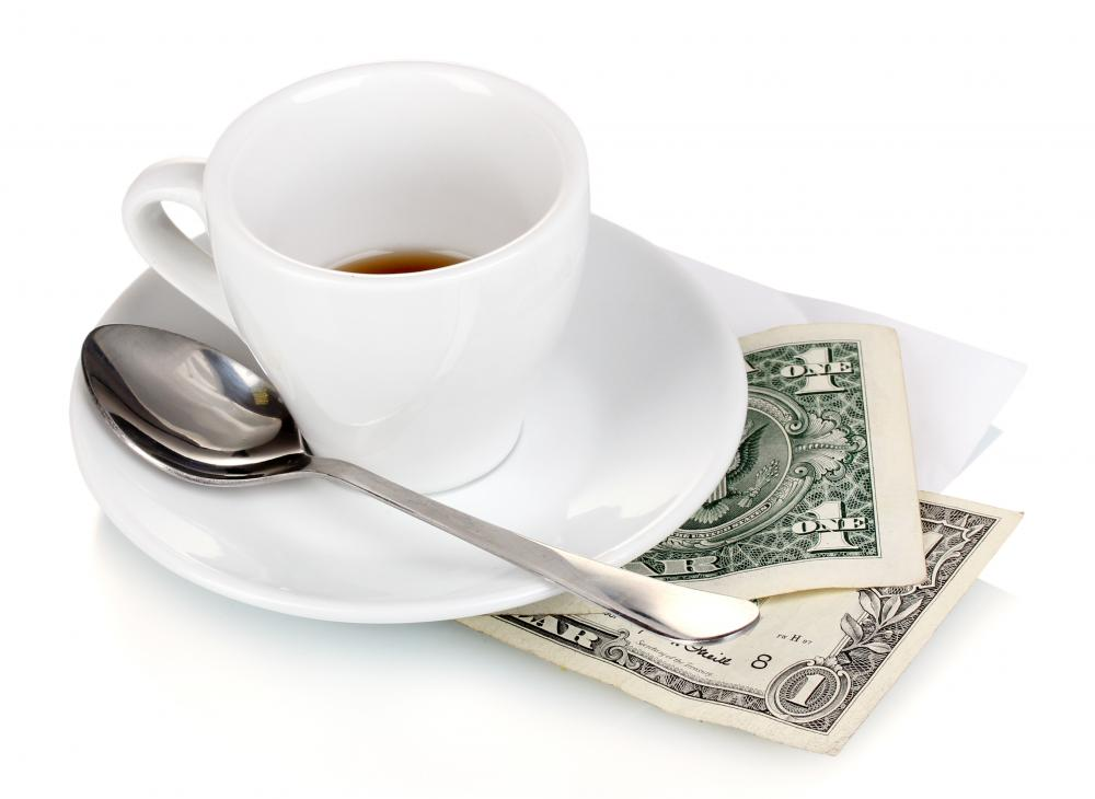 Part of a waitress's income is derived from tips.