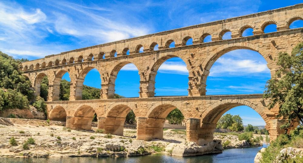 The Romans used aqueducts to transport water to major urban centers for use in bath houses, fountains, and private homes.
