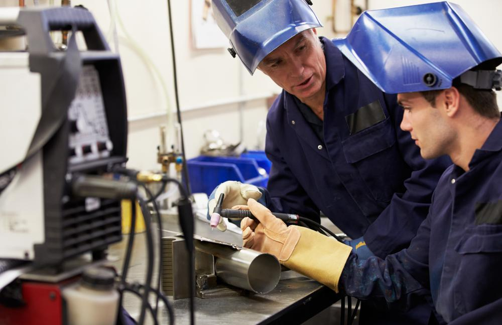 Job training offered by technical schools includes welding.